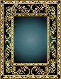 Frame met plantaardig gouden (Engels) patroon Stock Afbeeldingen