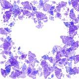 Frame met violette vlinders stock illustratie