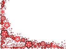 Frame met woordliefde die van vele bloemen wordt gemaakt Stock Foto