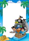 Frame met zeilboot en piraten Stock Foto's