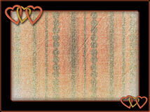 Frame with metal hearts and aged background Royalty Free Stock Images