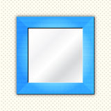 Frame / mirror. Empty blue photo frame for your pictures or mirror on pattern wallpaper Royalty Free Stock Image