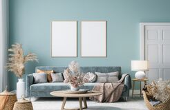 Free Frame Mock-up In Home Interior With Blue Sofa, Wooden Table And Decor In Blue Living Room Stock Photos - 209388743