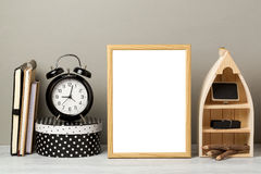 Frame mock up on table. Wooden frame mock up. Modern stylish interior background for social media and marketing Royalty Free Stock Images