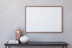 Frame mockup. 3d render. Frame mockup. Interior with large horizontal frame. 3d render Royalty Free Stock Photo