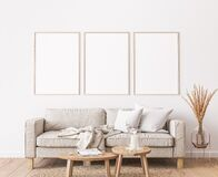 Free Frame Mockup In Farmhouse Living Room Design, White Furniture On Bright Wall Background Stock Image - 198553181