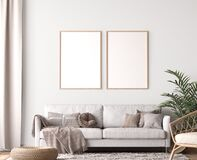 Free Frame Mockup In Living Room Design, Two Wooden Frames In Scandinavian Interior Royalty Free Stock Photography - 198336407
