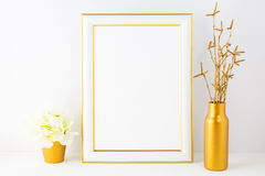 Frame mockup with ivory hydrangea in the golden flower pot Stock Photography