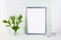 Frame mockup on light green background Stock Images