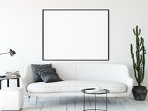 Frame mockup. Living room interior wall mockup. Wall art. 3d rendering, 3d illustration. royalty free illustration