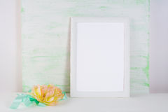 Frame mockup with silk peony Royalty Free Stock Photos