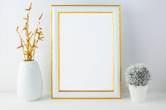 Frame mockup with small cactus Stock Photo