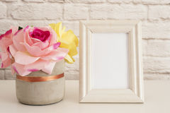 Frame Mockup. White Frame Mock up. Cream Picture Frame, Vase With Pink Roses. Product Frame Mockup. Wall Art Display Template, Bri Royalty Free Stock Images