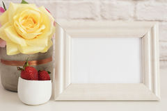 Frame Mockup. White Frame Mock Up. Cream Picture Frame, Vase With Pink Roses, Strawberries In Gold Bowl. Product Frame Mockup. Wal. L Art Display Template, Brick Royalty Free Stock Photos