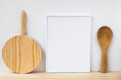 Frame mockup, wood cutting board and spoon on white background, product marketing. Website banner, blogging, social media Royalty Free Stock Photo