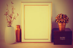 Frame mockup with wooden box vintage styled Stock Photo