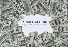 Frame of money. Frame made of money, free space for text Stock Photos