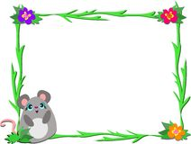 Frame with Mouse and Plants Royalty Free Stock Photos