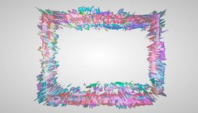 3d rendering. frame from multi-colored paints on a white background. a design frame for advertising. Frame from multi-colored paints on a white background. a royalty free illustration