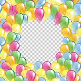 Frame from Multicolored glossy balloons seamless pattern Stock Photos