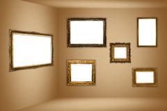 Frame museum. Empty vintage golden frames on museum walls (high resolution image - each frame cand be cut out and be used as a single image Royalty Free Stock Photos