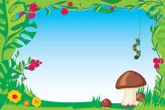 Frame with mushroom. For children photo and elements vector illustration
