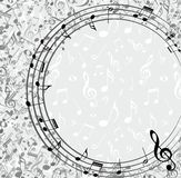 Frame with music notes. An abstract background with music notes Stock Photo
