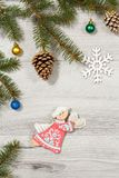 Frame from natural fir tree branches with  Christmas ornament on Royalty Free Stock Photography