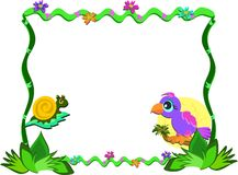 Frame of Nature, Parrot, and Snail Royalty Free Stock Photography