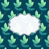 Frame with nature pattern. Frame on a background with seamless pattern of leaves. Vector illustration Royalty Free Stock Image