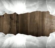 Frame nebuloso com fundo de madeira Foto de Stock