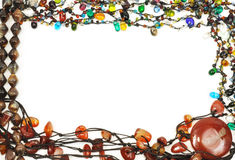 Frame from necklace. Stones necklace border , isolated on white Stock Photo