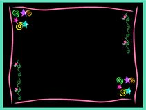 Frame of Neon Stars, Hearts, Spirals, and Swirls Royalty Free Stock Photos