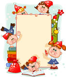 Frame with new year's children Stock Image