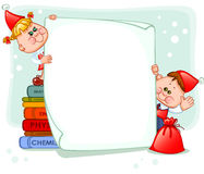 Frame with new year's children Stock Photos