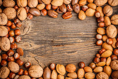 Frame of nuts fruit royalty free stock photos