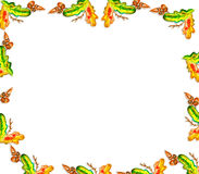 Frame of oak leaves and acorns Royalty Free Stock Images