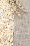 Frame oatmeal and wheat ears on burlap background Royalty Free Stock Photography