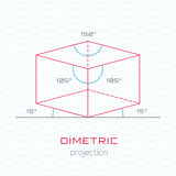 Frame Object in Axonometric Perspective - Dimetric Grid Template Royalty Free Stock Photos