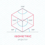 Frame Object in Axonometric Perspective - Isometric Grid Templat Stock Image