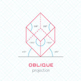 Frame Object in Axonometric Perspective - Oblique Grid Template Royalty Free Stock Photography
