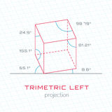 Frame Object in Axonometric Perspective - Trimetric Left Grid Te Stock Images