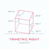 Frame Object in Axonometric Perspective - Trimetric Right Templa Stock Photos