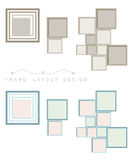 Frame object layout design for decorate in brown and blue color theme Stock Photo