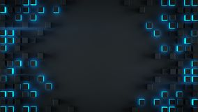 Frame Of Blue Cubes 3D Rendering Royalty Free Stock Images