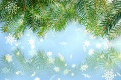 Free Frame Of Fir Branches On A Blue Background, Snow Falls Stock Image - 123368011