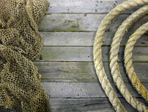 Frame Of Rope Rolls And Fishing Net Royalty Free Stock Photos