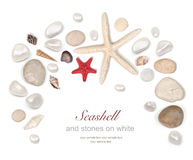 Frame Of Stones And Seashell On White Stock Photo