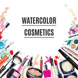 Frame Of Various Watercolor Decorative Cosmetic. Makeup Products Royalty Free Stock Photos