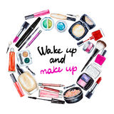 Frame Of Various Watercolor Decorative Cosmetic. Makeup Products Royalty Free Stock Image